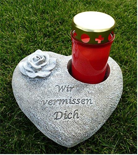 Grabschmuck Deko Herz mit Ausschnitt für Grabkerze, Rose, grau-antik 20 cm