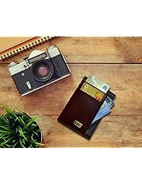 Paper Plane Design Leather Visiting Card Holder For Keeping Business Cards, Debit Cards, Credit Card - (Dark Brown)