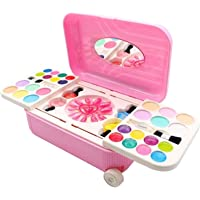VikriDa Girl's 2 in 1 Cosmetic and Real Makeup Palette with Mirror kit with Trolley for Kids - Pink Color