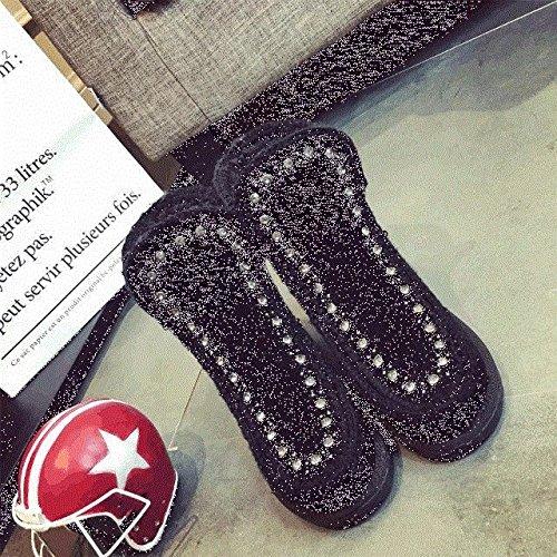 DXD Stivali da Vento Western da Donna Impermeabili Stivali da Neve a Piattaforma Spessa Autunno e Inverno Smerigliati Scarpe da Donna Nero