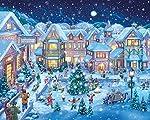 Jeder aufhält fröhlich auf dem Dorfplatz wie Weihnachten Ansätze. Genießen Sie dieses zauberhafte Ferienhaus Szene entwickeln, wie das Puzzle ist abgeschlossen. Diese wunderschön illustrierte Puzzles sind perfekt für die Zeit in der Vorfreude auf Wei...