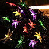 EONANT Dragonfly lights, 20FT/6M 30 LED Solar String Lights with 2 Modes Lights Waterproof for Outdoor, Garden, Christmas Decorations (Multicolor)