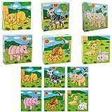 DreamFlying 9 Piece Wooden Jigsaw Cube Puzzle Toy - Forest Animal Lion Zebra Elephant Rhinoceros Tiger Rabbit
