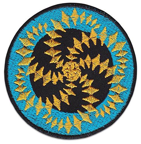 Spiral Mandala Aufnäher Aufbügler Patch Psychedelische Kunst Boho-Chic Goa Trance Yoga (Klein Blau)