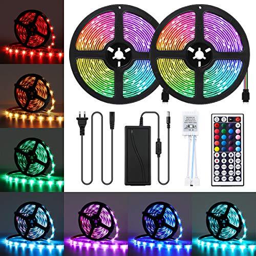 AMBOTHER LED Streifen 10M RGB LED Strip 5050 SMD 300 LEDs Lichtband IP65 Wasserdicht LED Bänder Lichterkette mit Netzteil 44 Tasten IR Fernbedienung selbstklebend Kit für Innen außen Beleuchtung Deko