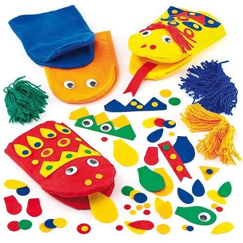 Bastelsets Filz-Handpuppen – zum Basteln und Dekorieren für Kinder – für Puppenspiel – 10 Stück
