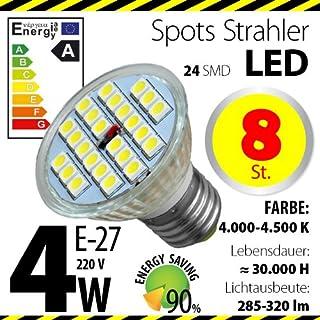 8-er Pack ALMIPEX E27 LED Lampe 4W (320lm - 4500 K - Weiß - 24 x 5050 SMD LED - 120º Abstrahlwinkel - E27 Sockel - 230V AC - 4 Watt - Ø 50×54 mm)