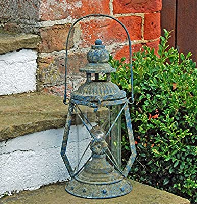 Traditional blue vintage metal LED light storm lantern from Bluebell Yard