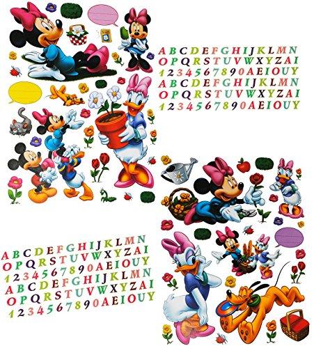 233 tlg. Set - XL Sticker / Aufkleber - Disney Minnie Mouse Daisy - Wasserfest Sticker rosa - für Innen & Außen - Wetterfest für Kinder Mädchen - Playhouse - Daisy Blume-bälle