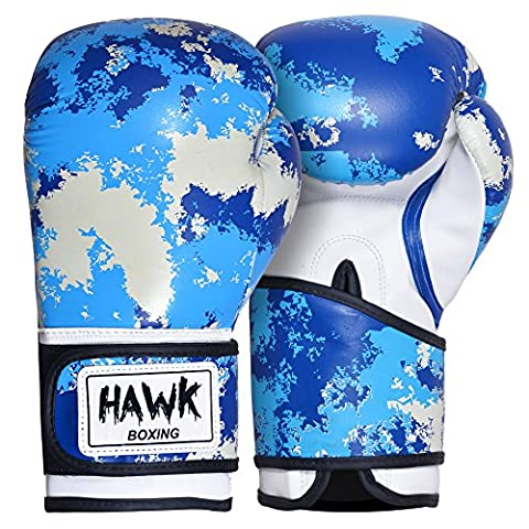 Hawk Boxing Professional Leather Boxing Gloves GEL Fight Punch Bag