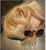 TIANLU Sciarpe di seta, seta filato Double-Root Sun foulard di seta Aria condizionata scialle telo da spiaggia, Golden,200*70cm con streaming su