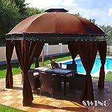 Swing & Harmonie LED - Pavillon 350cm Lavo - mit Seitenwänden und LED Beleuchtung + Solarmodul Runder Gartenpavillon Partyzelt Gartenzelt Rund (braun)