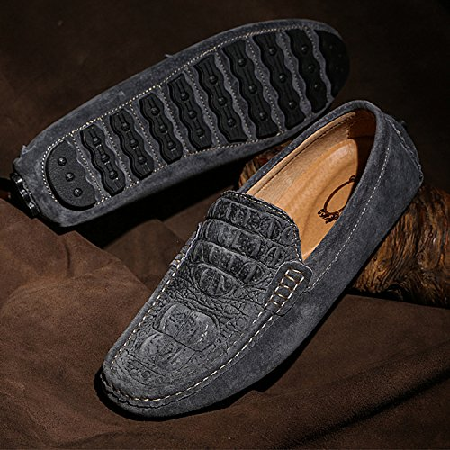 Icegrey Hommes Mocassins Cuir Suedé Passant Conduite Chaussures Suède Flâneurs Gris