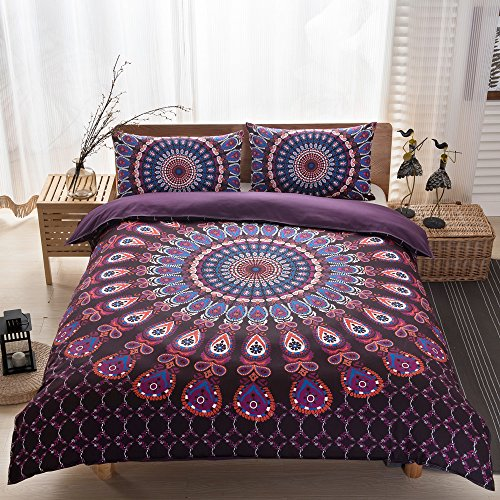 Indian Boho Elephant Bedding Bohemian Bedding Duvet Cover Set King Size, Noble Purple