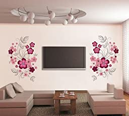 Decals Design 'Flowers with Vine' Wall Sticker (PVC Vinyl, 60 cm x 90 cm, Multicolor)