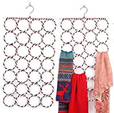 Everbuy ™ 28 Slot Scarf Belt,Shawl,Tie and more Hanger And Organizer (Assorted Color) 1PC