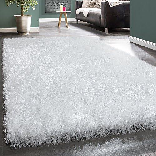 Shaggy Pelo Alto Tappeto Morbido in Fibre Lucide Moderno in Morbido Tinta Unita Bianco, Dimensione 200x290 cm 001538
