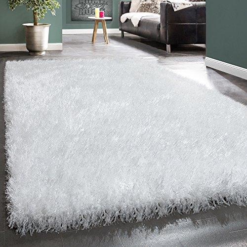 Foto de Alfombra Shaggy Pelo Alto Acogedora Fibras Brillantes Moderna Blanco Uniforme, tamaño:80x150 cm