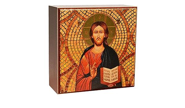 Bois MDF 7x7x3cm partiellement dor/ée Junker Kirchenbedarf Icone Religieuse J/ésus Christ Pantocrator /à Poser