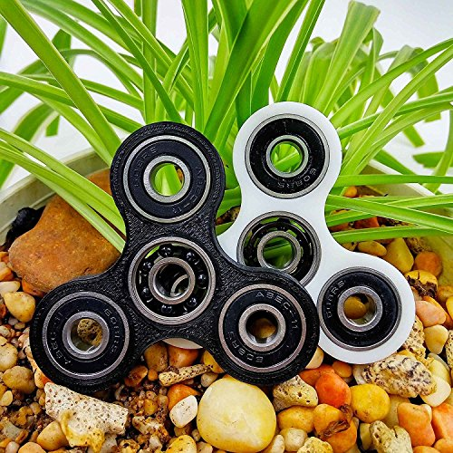 Spinner Fidget EDC ADHD Focus Toy Ultra Durable High Speed Si3N4 Hybrid Ceramic Bearing 1-3 Min Spins Non-3D Printed (Black) -