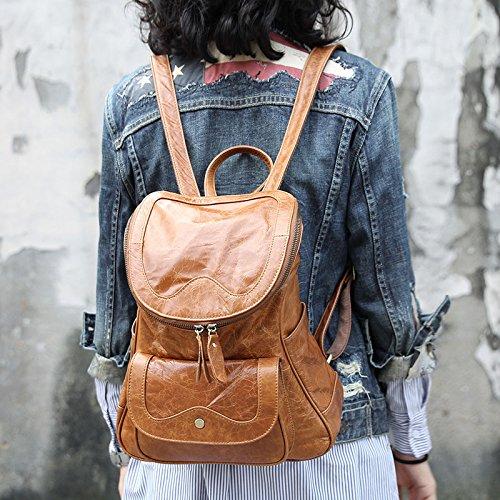 Loisirs en cuir d'origine de la couche d'en-tête double sacs à bandoulière en cuir sacs à bandoulière femmes Flashing yellow brown