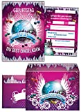 JuNa-Experten 6 Einladungskarten zum Geburtstag VIP incl. 6 Umschläge / Kindergeburtstag / Erwachsene / Mädchen / Kinder / Disco-Kugel / Pink / Umschlag / Disco-Party / Einladungen zum Geburtstag