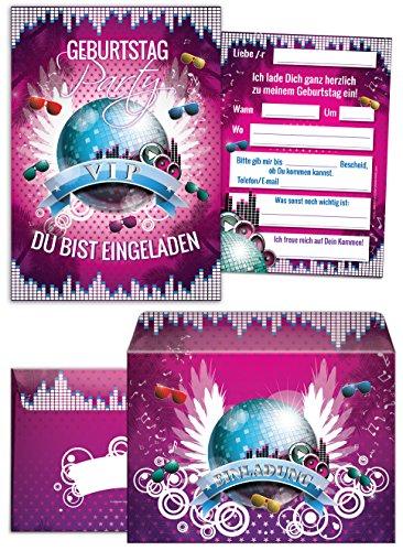 8 Einladungskarten zum Geburtstag VIP incl. 8 Umschläge / Kindergeburtstag / Mädchen / Erwachsene / Umschlag / Disco-Kugel / Pink/ Disco-Party / Einladungen zum Geburtstag (8 Karten + 8 Umschläge) (80. Geburtstag Einladungen Erwachsene)