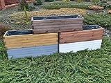 KENA D-3 Garden Holz Pflanzkasten Höchste Qualität Länge 60/80/100 cm (Weiß, 80)