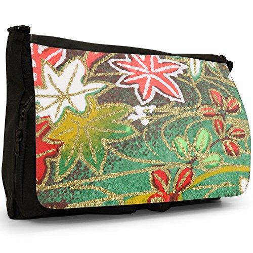 Fancy A Bag Borsa Messenger nero Japanese Art Red Fan Japanese Art Green Red Pink