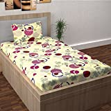 Story@Home Single Bedsheet for Single Bed With 1 Pillow Cover Combo Set - 100% Cotton - Spark Series, 208 TC, Circles (Pink - Yellow)