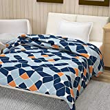Divine Casa 100 GSM Soft Polyester Geometric Reversible Single AC Dohar, Blanket Single Bed, Navy Blue (145 x 210 Inch)