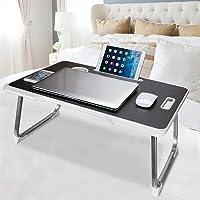Astory Plateau de lit pour ordinateur portable avec poignée, support de lecture avec pieds pliables, fente pour tasse et…