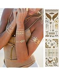 Tatouages Temporaires Métalliques 8 Feuilles en Or Argent Autocollant Corps Faux Bijoux Tatouages Tatouage Temporaire Étanche Plus de 100 Conceptions pour Femmes Ados Filles
