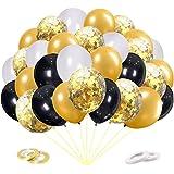 60 Piezas Globos Dorados,Globos Negros Blancos Globos Helio de Confeti para Decoraciones de Cumpleaños Aniversario Boda Cerem