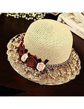 femminile estate Cappello di pizzo a mano cappello di Sun paglietta Protezione solare all'aperto spiaggia cappello...