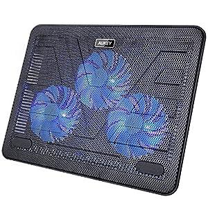 Aukey CP-R1 - Base de refrigeración para ordenador portátil (3 ventiladores, luz LED, USB) color negro