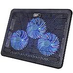 AUKEY Laptop Kühler 12-17 Zoll, 3 Lüfter mit LEDs, 2 USB-Ports, Cooling Pad, Notebook Cooler Ständer Kühlpad Kühlmatte