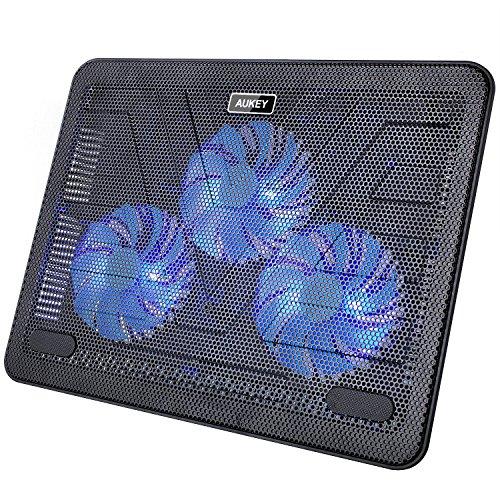 Aukey CP-R1 - Base de refrigeración para ordenador portátil (3 ventiladores, luz...