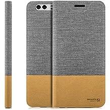Custodia Huawei Honor 8 Cover Flip Wallet [Zanasta Designs] Case Copertura con Portafoglio - Pieghevole con Porta Carte, Alta Qualità | Grigio