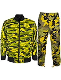 Men's Camouflage Combat Trouser With Bomber Jacket Military Army MA1 Harrington Coat