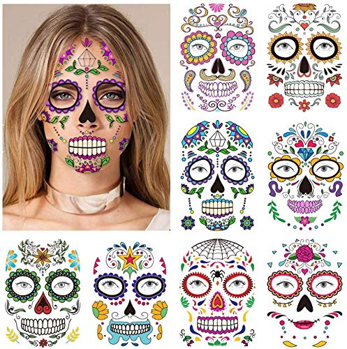 Halloween tatuaggi viso temporanei (9 fogli), konsait cranio floreale nero scheletro web rose rosse viso temporaneo tattoos adesivi per donna uomo adulto bambini halloween party trucco