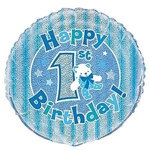 Unique Party- Globo foil cumpleaños Happy 1st Birthday, Color azul, 45 cm (55481)