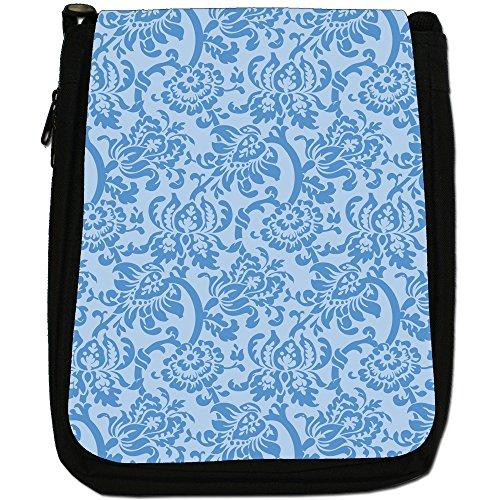 Carta da parati con motivo floreale, Design Medium Nero Borsa In Tela, taglia M Blue Floral Wallpaper Design