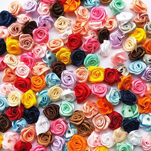 mosheng Zubehör 100Mix Viel Satin Ribbon Rose Blumen Nähen Craft Ribbon Bögen Hochzeit Home Party Dekoration (Mix Farben) (Bögen Ribbon)