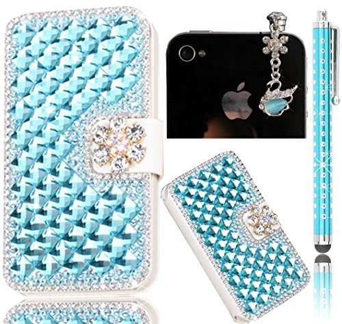 Sunroyal® Ultra Sottile Transparente Chiaro Bling Hard Duro Back Custodia Case in PC Plastica per Apple iphone 4 4S, 3 in 1 Lusso Clear Brillare Rhinestone Diamanti Glittering Cover Posteriore Telefon Blue