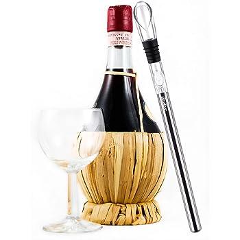 Refrigeratore per Vino, Barretta Refrigerante per Vino in Acciaio Inossidabile 3-in-1, Raffredda Bottiglia attiva e Decanter Aeratore con Beccuccio Antigoccia