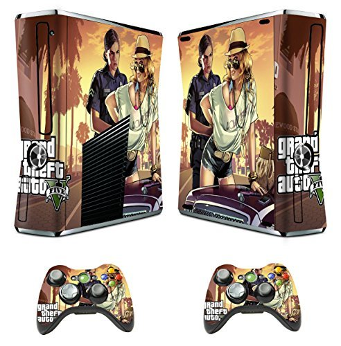 Xbox 360 skins grand theft auto 5 v decal vinyl cover for xbox slim console by Kushina Shop