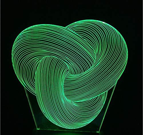 3D Lampe 3D Leuchte 3D Led Stimmungslicht 3D Lampe Nachtlicht Kind Spielzeug Stimmung Acryl 7 Farben Creative Geburtstagsgeschenk Drei-Ring-Seitenring Führte Visuelle Kleine Tischlampe Kleinen Flat Panel Single