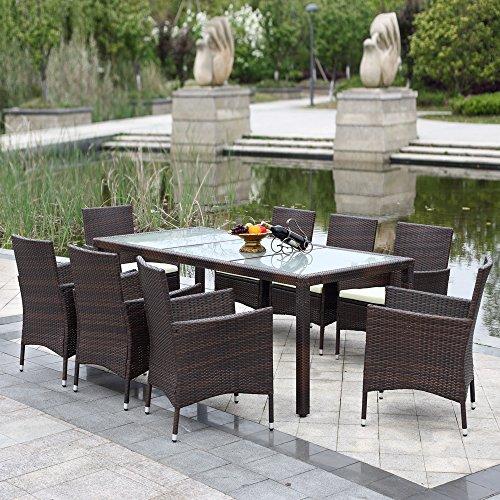 IKAYAA - Conjunto de Muebles de Ratán 9Pcs para Reunión Comedor Cenador de Jardín Terraza Patio Aire Libre (sólo enviamos a españa peninsular)