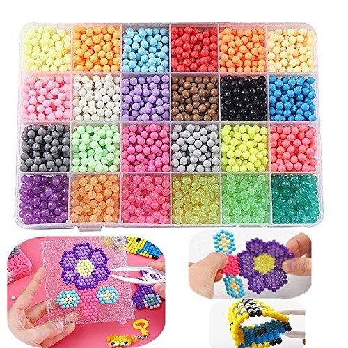 Puzzle fatto a mano giocattolo acqua fusibile perline magiche perline appiccicose con strumenti di corrispondenza completa, artigianato fai da te giocattoli per i bambini 3000pcs (24 color)